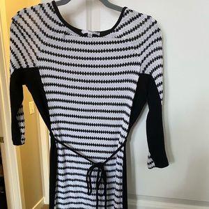 Black and white geometric pattern, knit dress